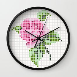 Shabby Chic Pink Rose Wall Clock
