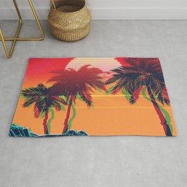 Vaporwave landscape with rocks and palms Rug