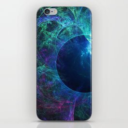 Abstract colorful shiny print graphic with planet space iPhone Skin
