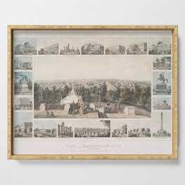 Vintage Pictorial Map of Washington DC (1849) Serving Tray