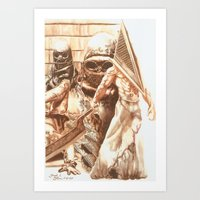 silent hill Art Prints featuring Silent Hill b by Joseph Silver