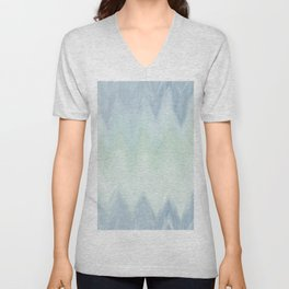 Modern geometrical pastel blue mint green watercolor ikat Unisex V-Neck