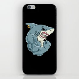 Shark At The Gym   Fitness Training Muscles iPhone Skin