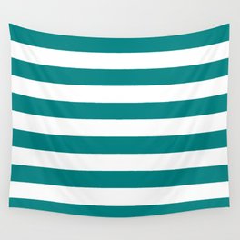 Horizontal Stripes (Teal/White) Wall Tapestry