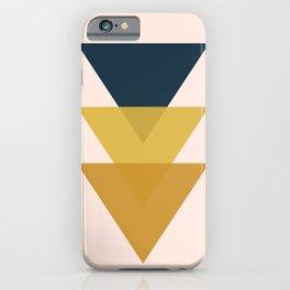 Triangle Trio Minimalist Geometric in Mustard Yellow Navy Blue Blush Pink iPhone Case
