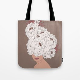 Woman with Peonies Tote Bag