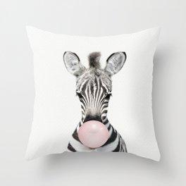 Bubble Gum Zebra Throw Pillow