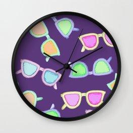 Sunglasses purple Wall Clock