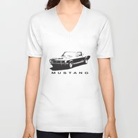 mustang V-neck T-shirts featuring Mustang Design by kartalpaf
