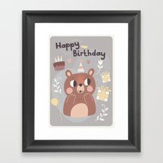 Happy Birthday Bear! Framed Art Print