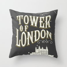 Tower of london England vintage poster Throw Pillow