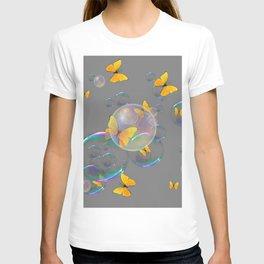 #2 YELLOW BUTTERFLIES  & SOAP BUBBLES GREY COLOR T-shirt