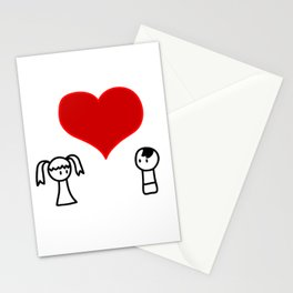 Cute boy and girl love doodle Stationery Cards