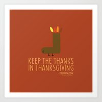 thanksgiving Art Prints featuring Thanksgiving by Existential Sock