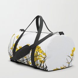 Minimal Garden -Yellow Version - Black Stems with Yellow Petals On White #decor #society6 #buyart Duffle Bag