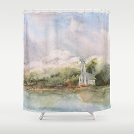 East Channel Lighthouse Shower Curtain