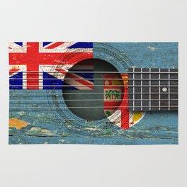 Old Vintage Acoustic Guitar with Fiji Flag Rug