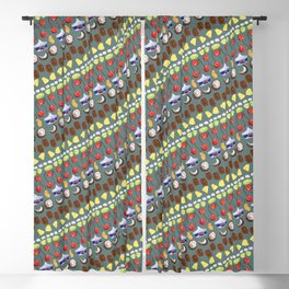 Tilted Bars of Fruits Blackout Curtain