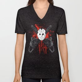 Chainsaw Hockey Mask With Blood Splatters - B Movie Massacre Unisex V-Neck