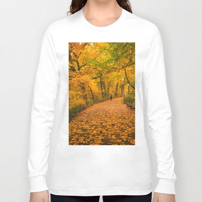 New York City Autumn Dusk in Central Park Long Sleeve T-shirt