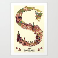 scotland Art Prints featuring S is for Scotland by Kelly Chilton