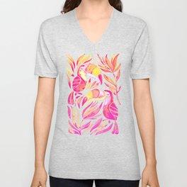 Tropical Toucans – Pink & Melon Ombré Unisex V-Neck