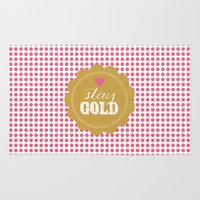 stay gold Area & Throw Rugs featuring Stay Gold Polka Dots by The Spotted Olive