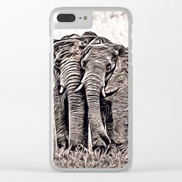 Rustic Style - Elephants Clear iPhone Case