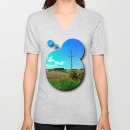 Clouds, a powerline and lots of green Unisex V-Neck
