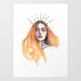 """""""Bones"""" Mixed Media Portrait Illustration Art Print"""