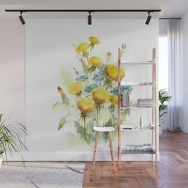 Watercolor flowers of blowball and forget-me-not Wall Mural
