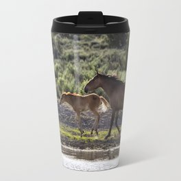 A Bay and Her Colt Running By The Waterhole Travel Mug