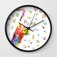 saxophone Wall Clocks featuring Saxophone by Miss L in Art