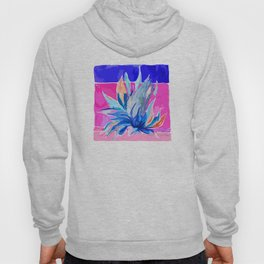 Agave From Toledo, Spain Abstract, Blue and Hot Pink Bright Hoody