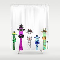 giraffes Shower Curtains featuring Giraffes by Jozi