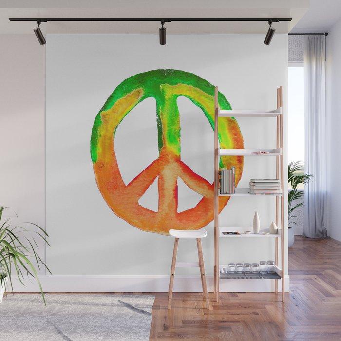 Watercolor Tie Dye Peace Sign Green Orange Yellow Wall Mural by  laurabethlove