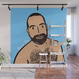 Beard Boy: Blue  Wall Mural