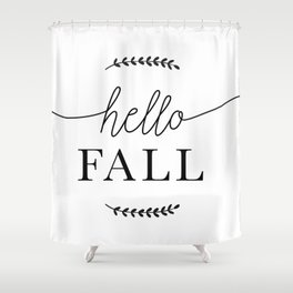 Hello Fall Autumn, Fall & Thanksgiving Art Shower Curtain