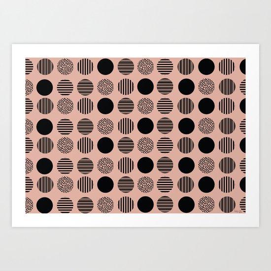 old pink circles Art Print