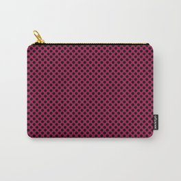 Cerise and Black Polka Dots Carry-All Pouch
