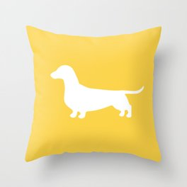 Dachshund (on Yellow) Throw Pillow