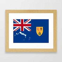 Turks and Caicos Islands TCI Flag with Island Maps Framed Art Print