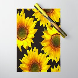 Large Sunflowers on a black background #decor #society6 #buyart Wrapping Paper