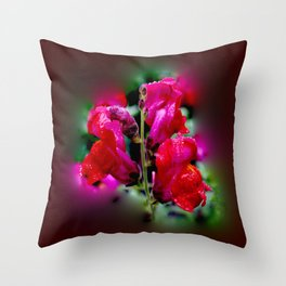Wet Red Snapdragon Throw Pillow