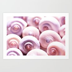 Dream of last summer I - Animal Snail Shells in pink on #Society6 Art Print
