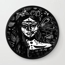 Andromedan Goddess B & W Wall Clock