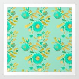 Granada Floral in Aqua on aqua Art Print