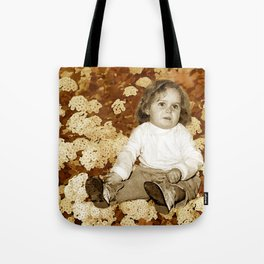 Vintage Little Girl and Flowers Tote Bag