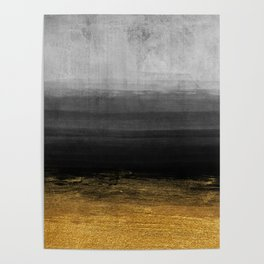 Black and Gold grunge stripes on modern grey concrete abstract background - Stripe -Striped Poster
