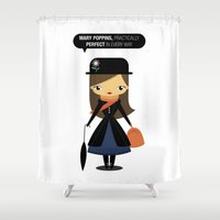 mary poppins Shower Curtains featuring Mary Poppins by oyoyoi